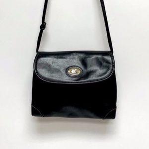 GUCCI 1970's Rare Black Leather Shoulder Bag- COA